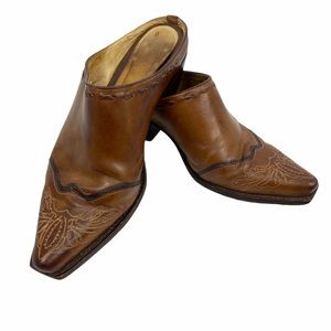 Lucchese Brown Leather Western Boot Style Mule